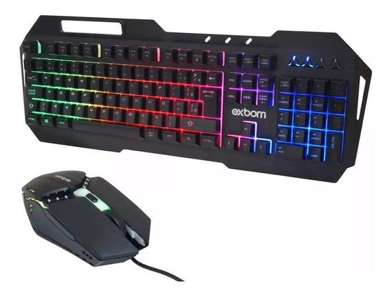 Kit Teclado Metal Mouse Gamer Led Rgb Pc Usb Abnt2 Top Elite