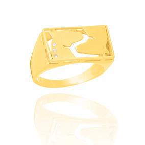 Anel Retangular 2 Cabeças De Cavalo Em Ouro Com 3 Brilhantes
