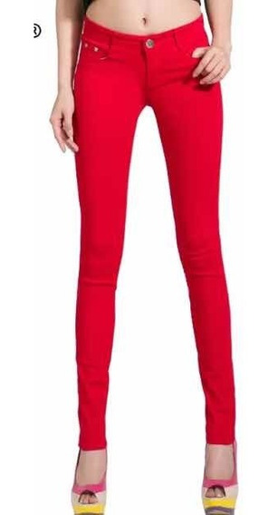 Pantalón De Mezclilla Rojo Adolescentes Corte Skinny Talla 3