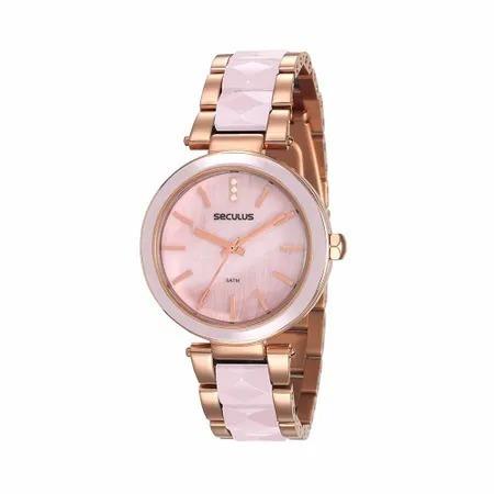 Relógio Feminino Seculus Dourado Com Rosé