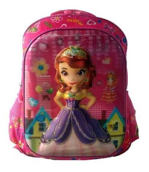 Mochila Infantil Princesa Sofia 3d Alto Relevo Escolar