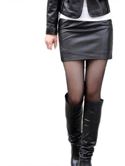 Mini Falda Cuero Sintetico Pu Elasticada