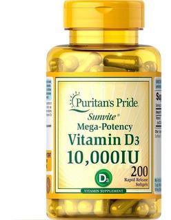 Vitamina D3 10.000 Iu 200 Softgels Puritans Pride