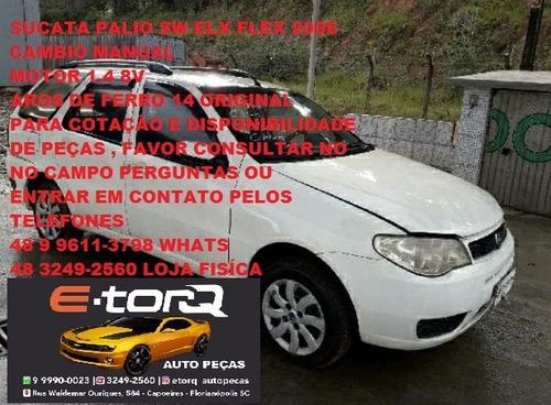 Sucata Palio Week 1.4 8v 2006 Completa Motor Com Nota Gnv