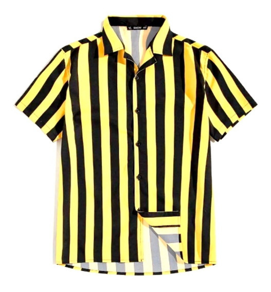 Camisa De Manga Corta De Rayas Verticales Colornegroamarillo