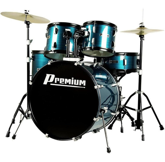 Bateria Acústica Premium Completa Dx722 Azul Com Banco