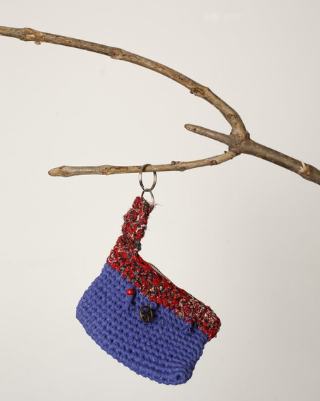 Monedero Tejido Al Crochet Paz Violeta Y Rojo