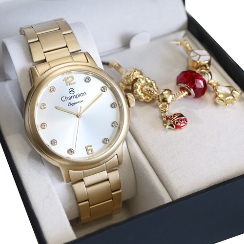Relógio Champion Feminino Dourado + Kit De Brincos E Colar