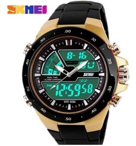 Relógio Masculino Esportivo Digital Dourado Prova D'agua