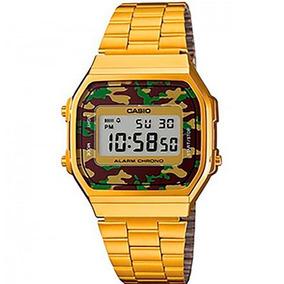 Relógio Casio Vintage A168 Dourado Gold Camuflado Original
