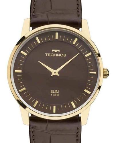 Imagem 1 de 5 de Relógio Technos Masculino Dourado Couro