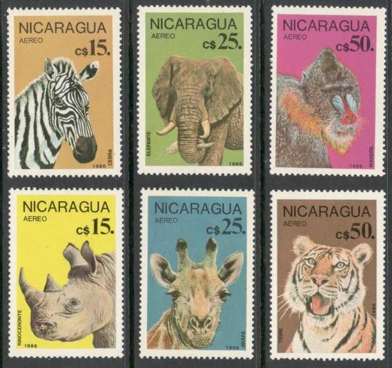 Nicaragua - Serie Completa Animales 1986 (cebra Tigre Jirafa