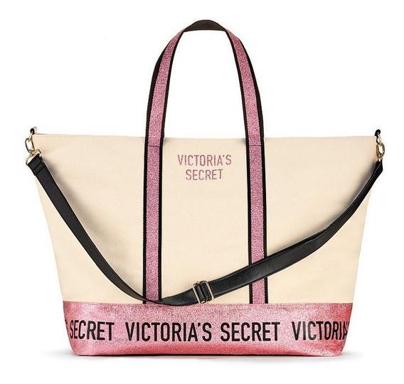 Bolso Xl Lona Glitter Rosa Signature Victoria