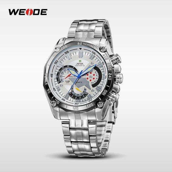 Relógio Analógico Masculino Aço Inoxidável Luxo Marca Weide