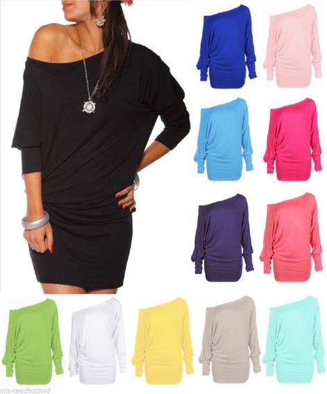 Vestido Plus Size De Ombro Caido Liso Basico Verao 2019 Top