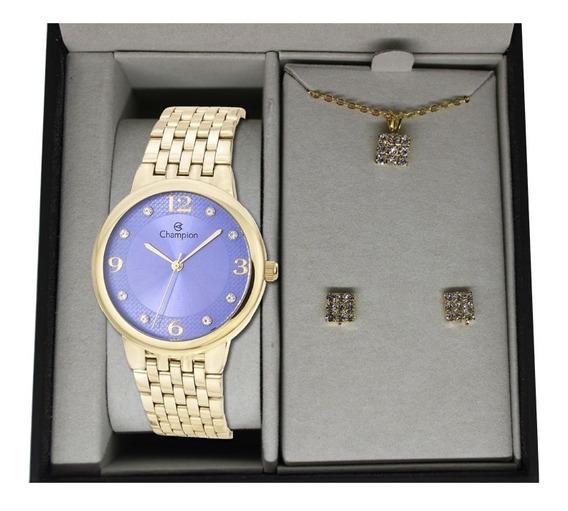 Relógio Champion Feminino Dourado + Kit Colar E Brinco Kit10