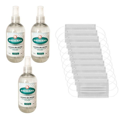 3 Alcohol En Gel Antibacterial Anmat + 10 Barbijos Tapa Boca