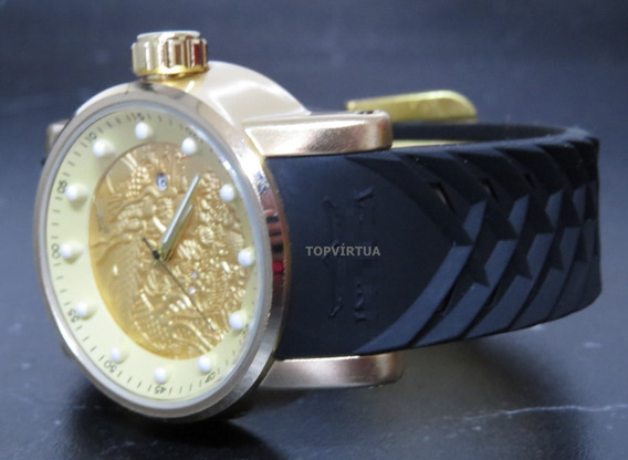 Relógio Ouro Dourado Preto Gold Grande+ Caixa + Carteira Top