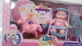 Muñeca En Coche Little Love Con Caballo Niñas Juguete