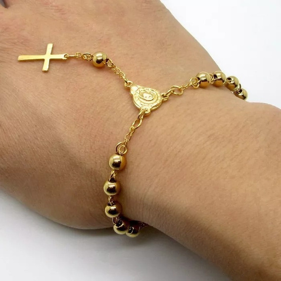 Pulseira Feminina Terço Com Crucifixo Folheada Ouro Ref:353