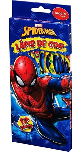 Imagem 1 de 2 de Lápis De Cor 12 Cores Homem Aranha - Molin