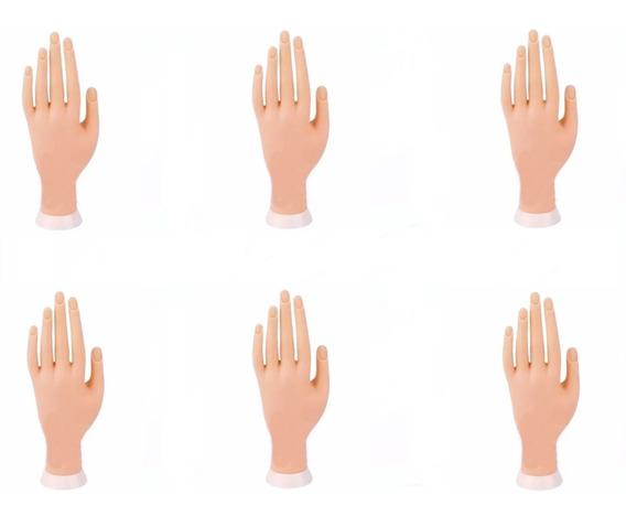 6 Mão Postiça Treino Manicure Dedo Postiço Unha Gel Acrigel