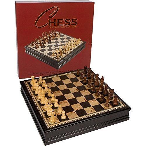 Juego De Mesa Adrienne Chess Incrustado Burl Y Black Wood Co