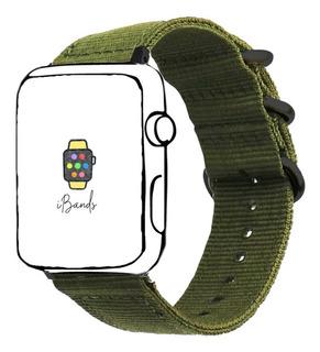 Pulseira Nylon Verde Militar Rustico Apple Watch 42mm 44mm