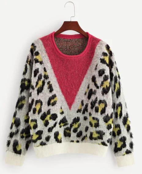 Suéter Sudadera Saco Leopardo Mujer Invierno