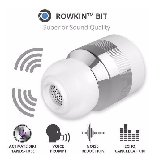 Rowkin Bit Stereo - Fone Ouvido Bluetooth - Prata E Branco