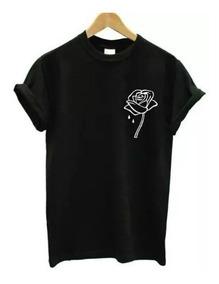 Camiseta Baby Look Rosa Flor Tumblr Camisa Tshirt