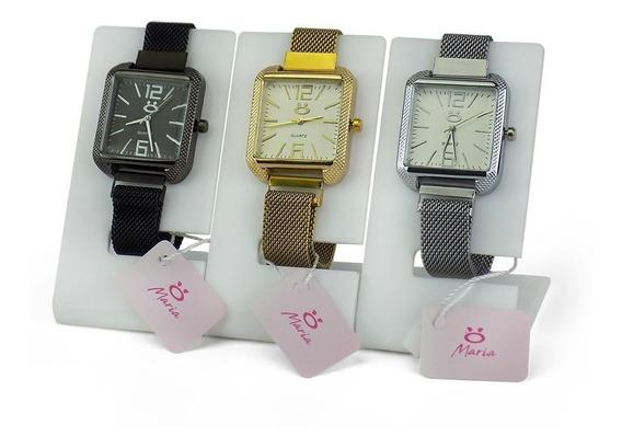 Kit 3 Relógios Feminino Rosê Dourado Preto Original Nf-e