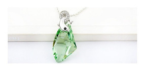 Colar Cristal Swarovski Golfinho Liga Platina - Verde