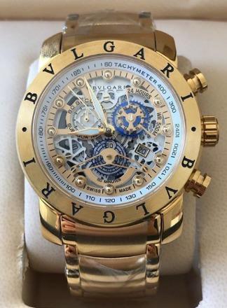 Relógio Masculino Bullgari Esqueleto Dourado Fundo Branco