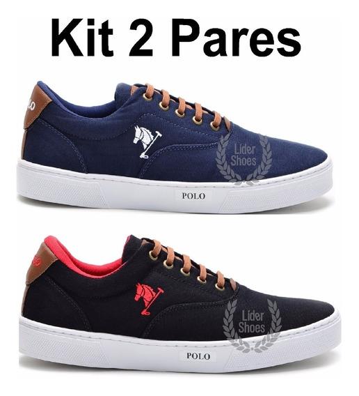 Kit 2 Pares - Tenis Masculino Sapato Sapatenis Polo Joy