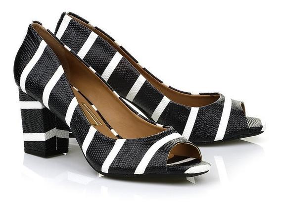 Peep Toe Uza Shoes Couro Azul Navy Sailor Texturizado