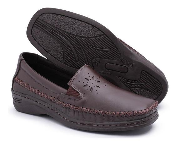 Sapato Sapatilha Mocassim Anabela Em Couro Confort P/ Idosas