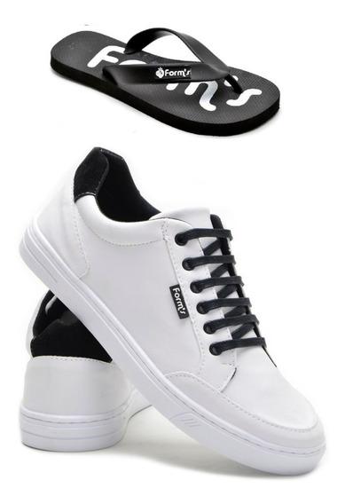 Sapatênis Calçado +chinela Sola Branca Promoção