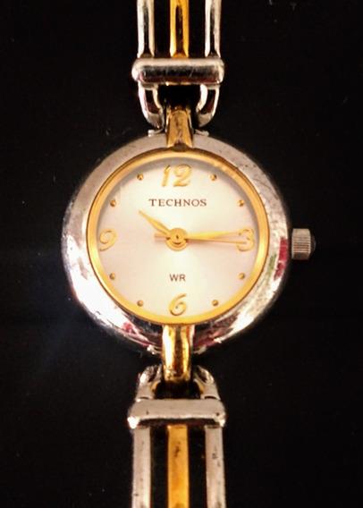 Relógio Feminino Technos 426, Aço Inox Com Detalhes Dourados