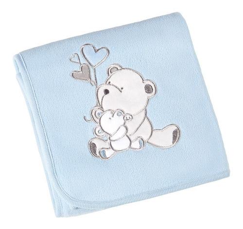 Manta Fleece Bebê Com Bordado 82 Cm X 82 Cm Lepper