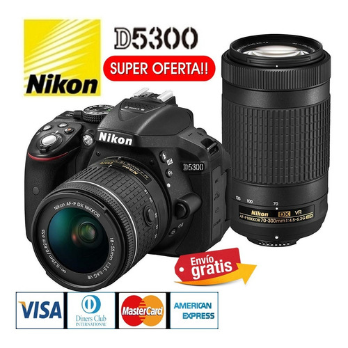 Camara Nikon Profesional D5300 24.2mp + 18.55mm + 70.300mm