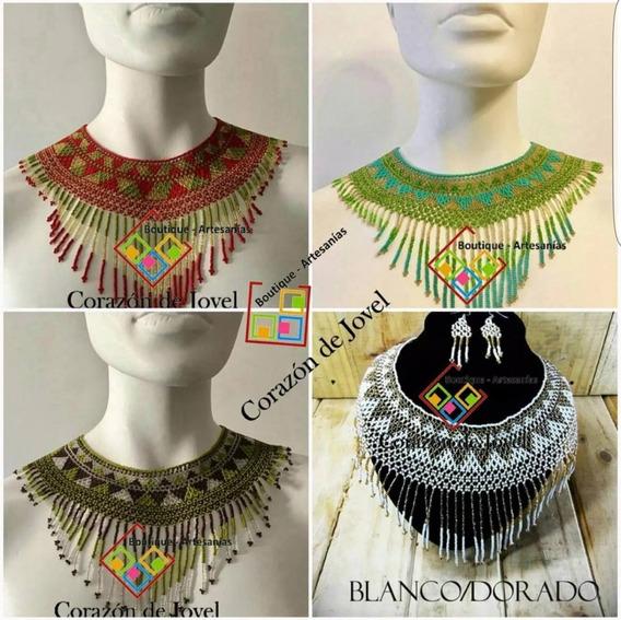 Collares Artesanales/coloridos Tejidos Chaquira De Chiapas