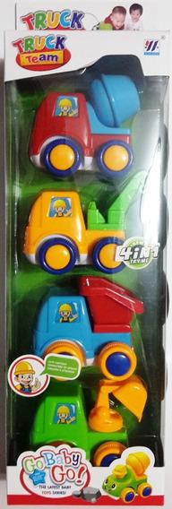 Carritos A Friccion 4 Camiones Truck Juguete Para Bebe Niño