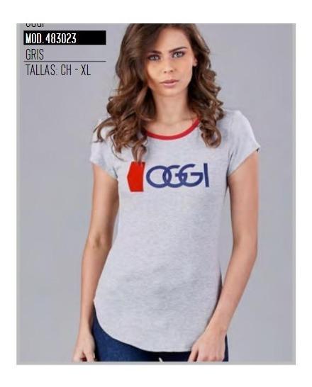Playera Oggi Top Mujer Color Gris 483023 Oggi 2-19 D