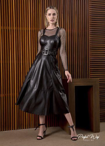 Vestido Midi Com Recortes + Cinto Preto Perfect Way