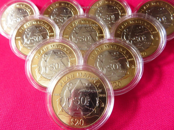 Moneda 20 Pesos Marina X 2 Monedas Con Capsula Y Envio