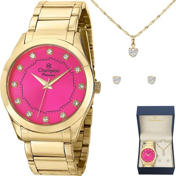 Relógio Champion Feminino Dourado Strass Kit Brinco E Colar