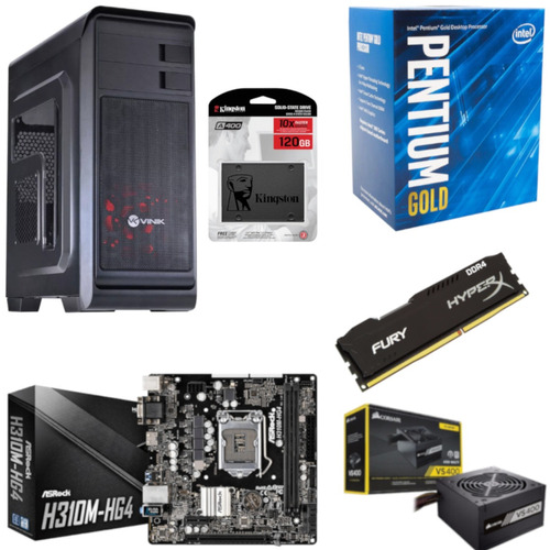 Pc Hunter Pentium G5400 Mb H310m Hg4 Hx 8gb Vs400 Ssd 120gb