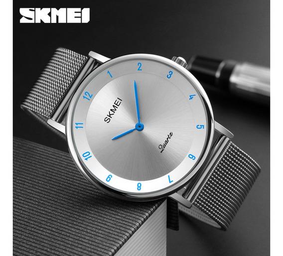 Reloj Skmei 1264 Elegante Azul Acero Inoxidable Para Hombres