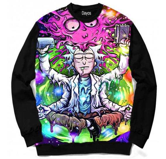 Casaco Moletom Rick And Morty Colorido Rave Desenho Swag